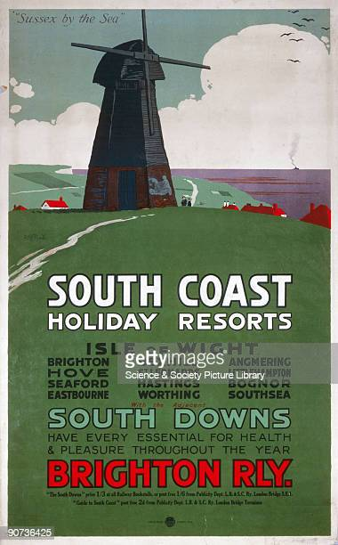 Poster featuring a windmill on the coast produced for the London Brighton South Coast Railway to promote travel to Brighton the Isle of White the...