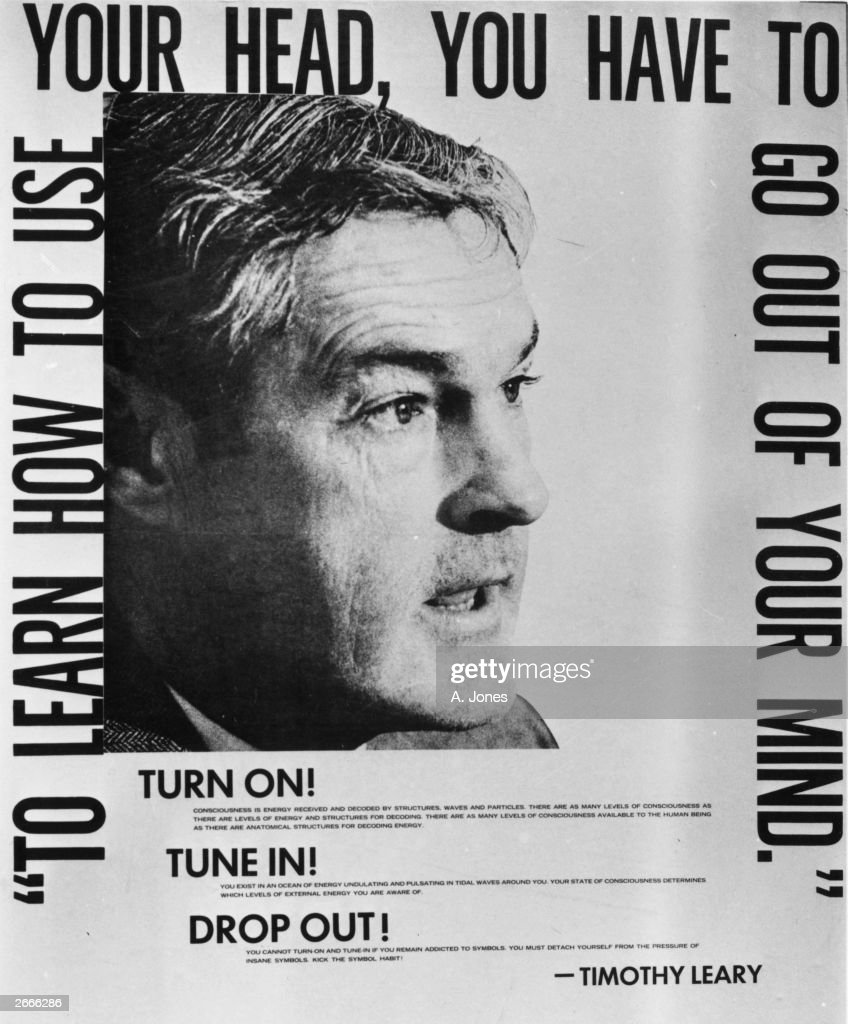 A poster featuring and scripted by American philosopher Dr Timothy Leary, advising people to, 'Turn On, Tune In and Drop Out'.