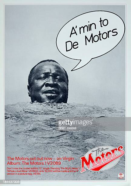 Poster featuring Idi Amin promoting The Motors' eponymous debut album released by Virgin Records in February 1977 Design by Cooke Key Associates