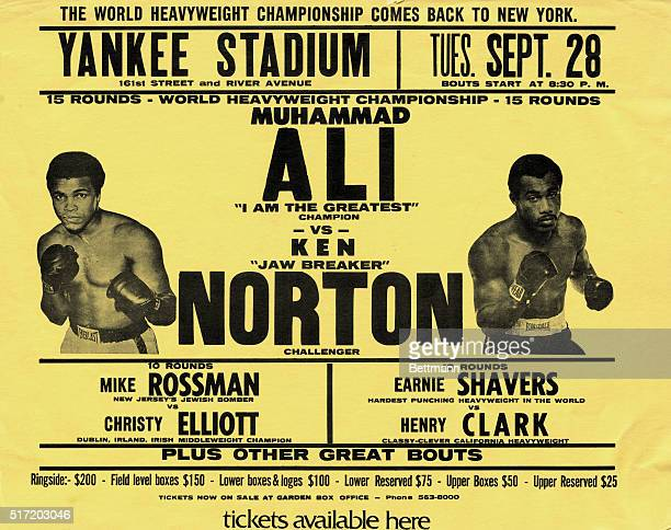 Poster for a 1976 World Heavyweight Championship boxing match between Muhammad Ali and Ken Norton