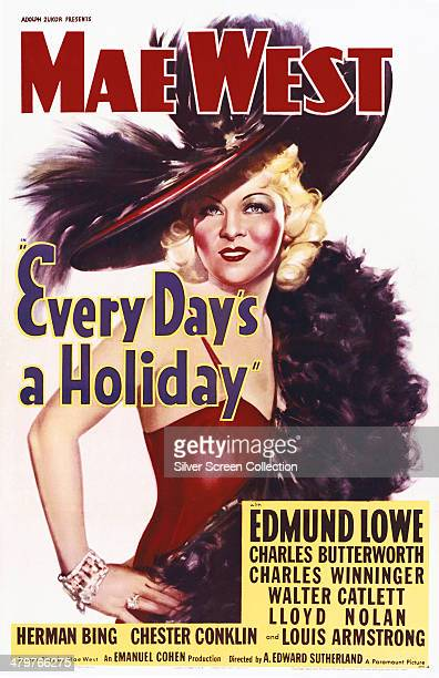 A poster for A Edward Sutherland's 1937 comedy film 'Every Day's A Holiday' cowritten and starring Mae West
