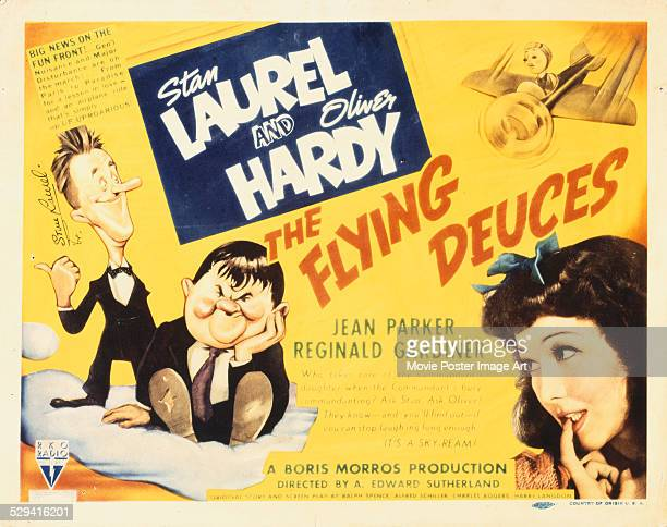 A poster for A Edward Sutherland's 1939 comedy 'The Flying Deuces' starring Stan Laurel Oliver Hardy and Jean Parker