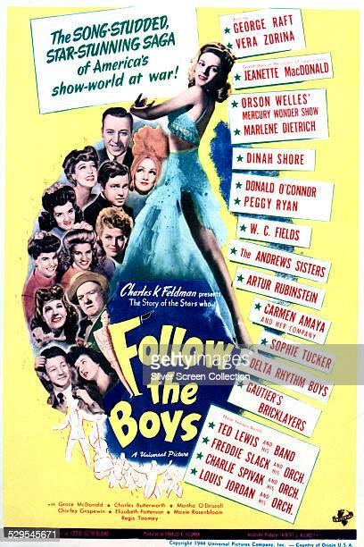 A poster for A Edward Sutherland's 1944 allstar musical 'Follow The Boys' featuring a full length portrait of Norwegian ballerina Vera Zorina