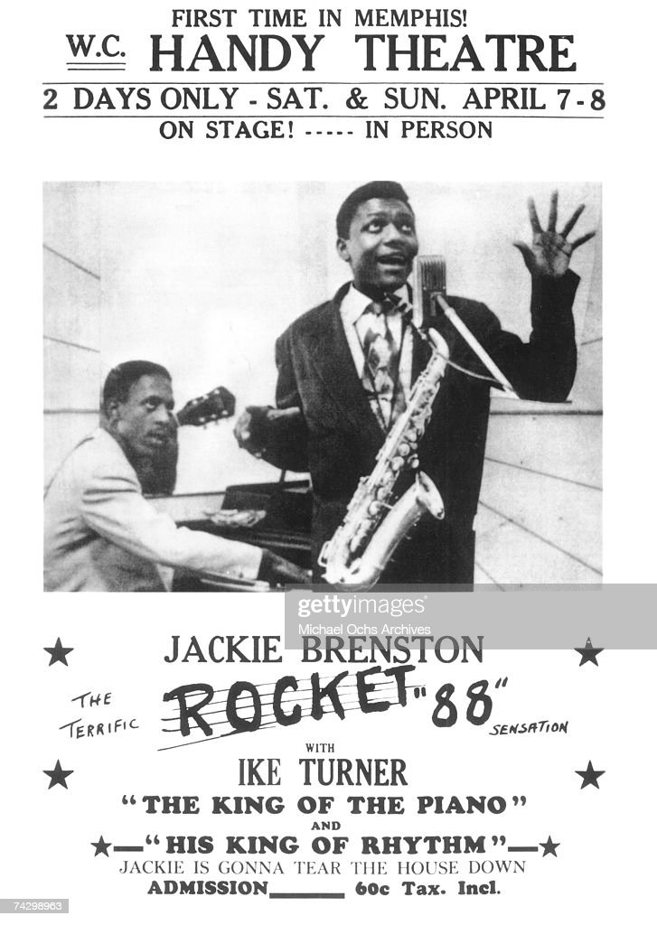 Poster for a performance by Jackie Brenston at the WC Handy Theatre of his hit song 'Rocket 88' with Ike Turner in circa 1952.