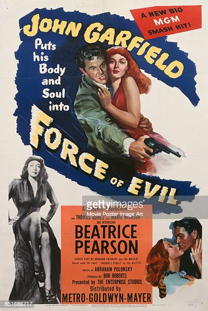A poster for Abraham Polonsky's 1948 crime film 'Force of Evil' starring Beatrice Pearson Marie Windsor and John Garfield