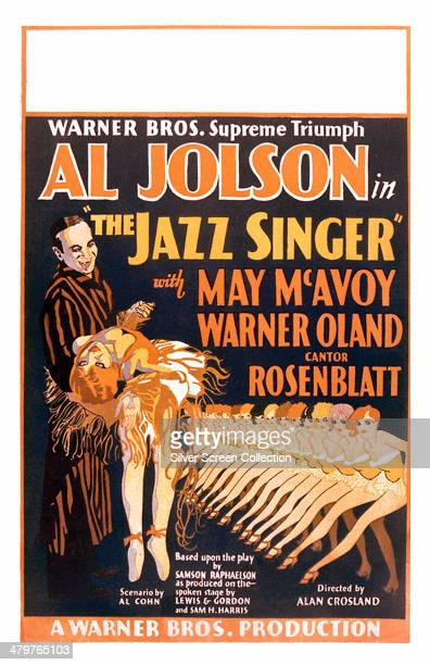 A poster for Alan Crosland's 1927 musical film 'The Jazz Singer' starring Al Jolson