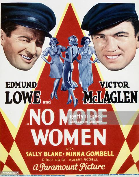 A poster for Albert S Rogell's 1934 adventure film 'No More Women' starring Edmund Lowe and Victor McLaglen