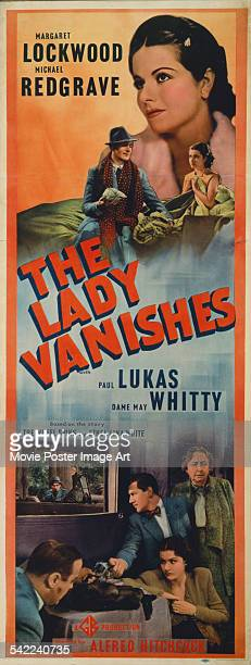 A poster for Alfred Hitchcock's 1938 comedy film 'The Lady Vanishes' starring Margaret Lockwood Michael Redgrave Paul Lukas and Dame May Whitty