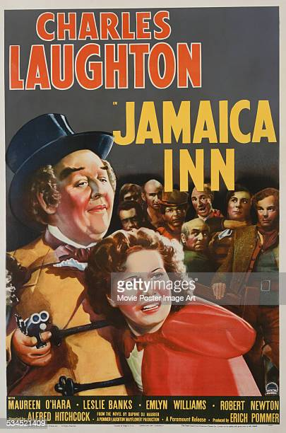 A US poster for Alfred Hitchcock's 1939 adventure film 'Jamaica Inn' starring Charles Laughton and Maureen O'Hara