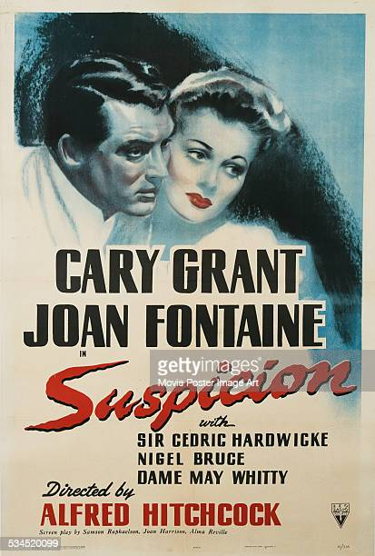 A US poster for Alfred Hitchcock's 1941 thriller 'Suspicion' starring Cary Grant and Joan Fontaine