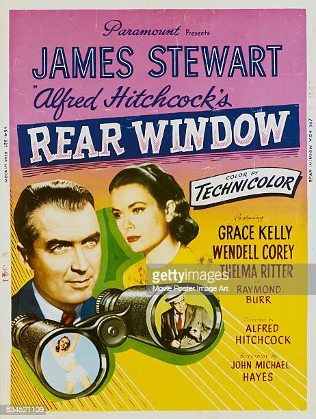 A US poster for Alfred Hitchcock's 1954 thriller 'Rear Window' starring James Stewart and Grace Kelly