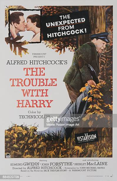A US poster for Alfred Hitchcock's 1955 black comedy 'The Trouble With Harry' featuring John Forsythe Shirley MacLaine and Edmund Gwenn