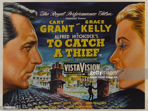 A poster for Alfred Hitchcock's 1955 crime film 'To Catch a Thief' starring Cary Grant and Grace Kelly