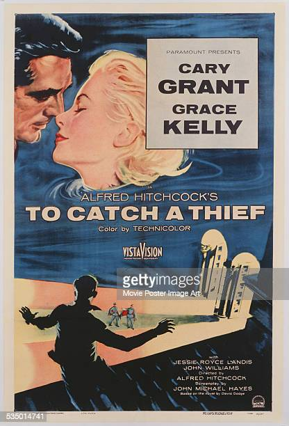 A poster for Alfred Hitchcock's 1955 romantic film 'To Catch a Thief' starring Cary Grant and Grace Kelly