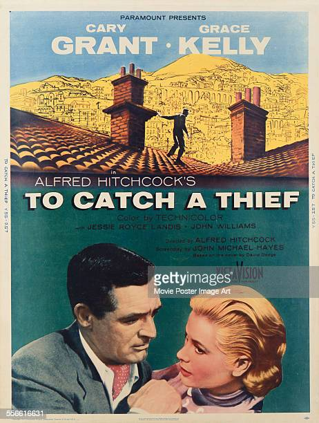 A poster for Alfred Hitchcock's 1955 thriller 'To Catch a Thief' starring Cary Grant and Grace Kelly