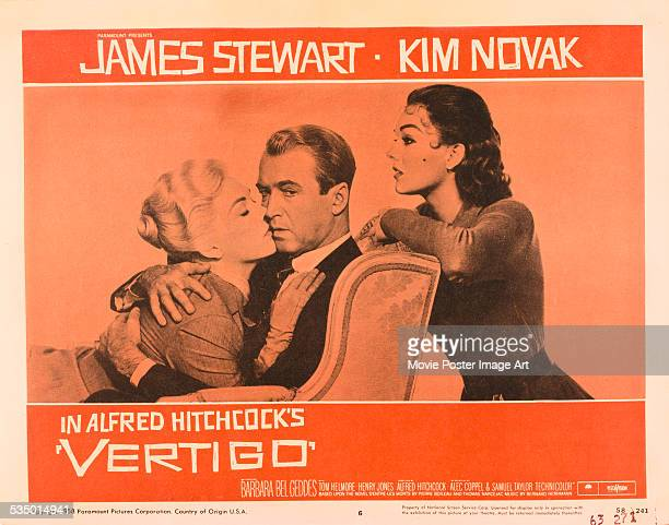 A poster for Alfred Hitchcock's 1958 thriller 'Vertigo' starring James Stewart and Kim Novak