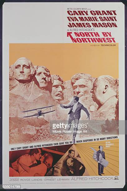 A poster for Alfred Hitchcock's 1959 action film 'North by Northwest' starring Cary Grant and Eva Marie Saint