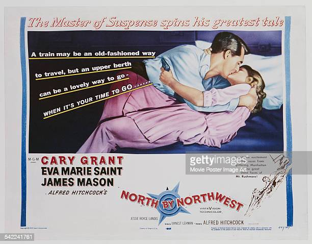 A poster for Alfred Hitchcock's 1959 thriller film 'North by Northwest' starring Cary Grant and Eva Marie Saint