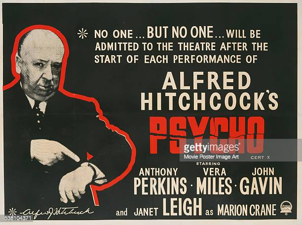 Poster for Alfred Hitchcock's 1960 horror film 'Psycho'.