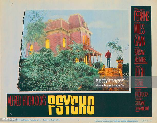 A poster for Alfred Hitchcock's 1960 horror film 'Psycho' starring Anthony Perkins