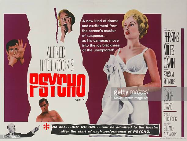A poster for Alfred Hitchcock's 1960 horror 'Psycho' starring Vera Miles John Gavin Anthony Perkins and Janet Leigh