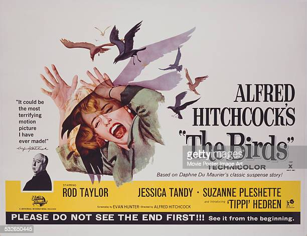 A poster for Alfred Hitchcock's 1963 horror film 'The Birds' starring Tippi Hedren