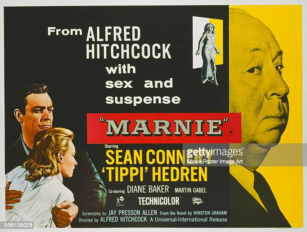 A poster for Alfred Hitchcock's 1964 drama 'Marnie' starring Tippi Hedren and Sean Connery