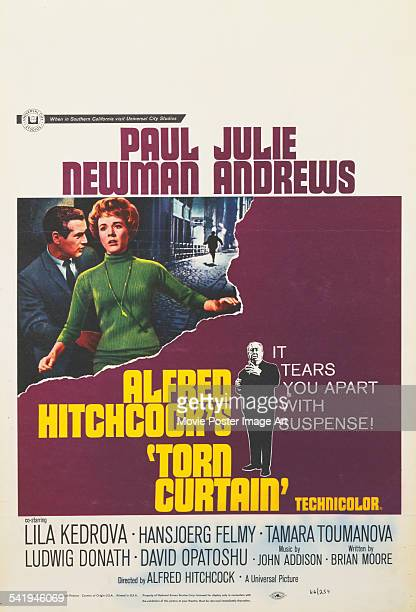 A poster for Alfred Hitchcock's 1966 thriller 'Torn Curtain' starring Paul Newman and Julie Andrews