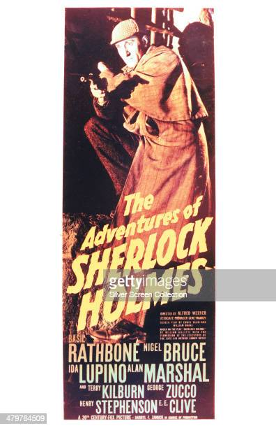 A poster for Alfred L Werker's 1939 mystery adventure film 'The Adventures Of Sherlock Holmes' starring Basil Rathbone in the title role