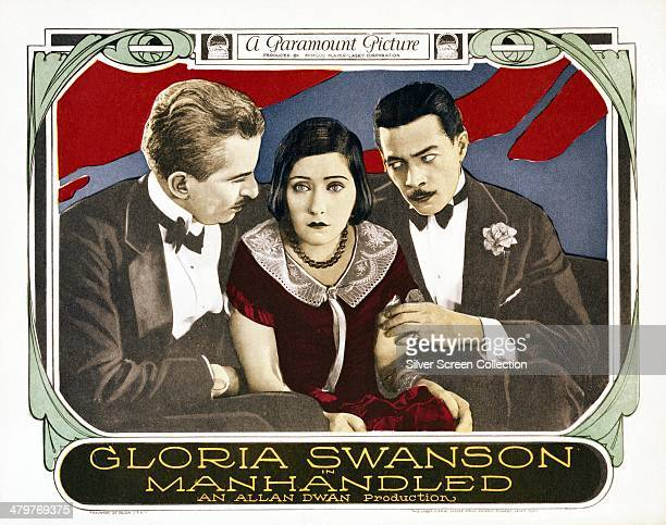 A poster for Allan Dwan's 1924 silent drama film 'Manhandled' featuring Tom Moore Gloria Swanson and Arthur Housman