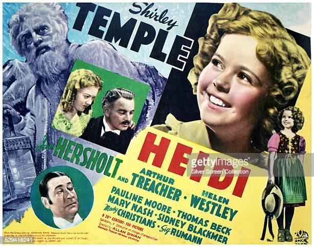 A poster for Allan Dwan's 1937 musical drama film 'Heidi' starring Shirley Temple