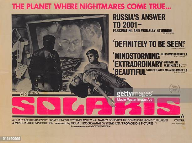 A poster for Andrei Tarkovsky's 1972 science fiction film 'Solaris'