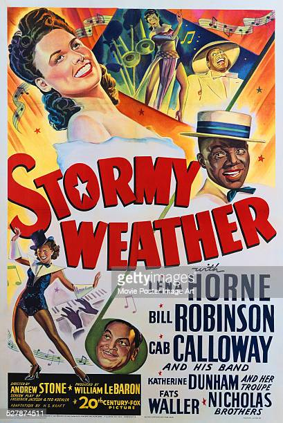 Poster for Andrew L. Stone's 1943 musical 'Stormy Weather' starring Lena Horne, Bill Robinson, and Cab Calloway.