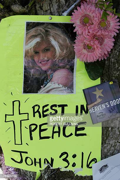 A poster for Anna Nicole Smith which is part of a make shift memorial 23 February 2007 is pinned to a tree outside the Broward County Medical...