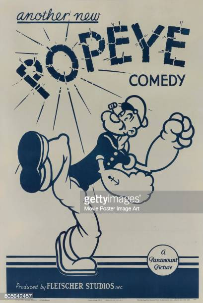 A poster for 'another new Popeye comedy' produced by Fleischer Studios Inc for Paramount 1939