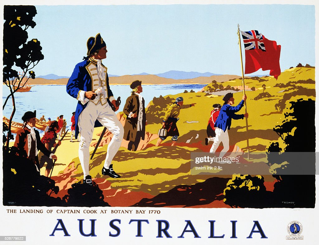 Poster for Australia Showing the Landing of Captain Cook at Botany Bay in 1770 by Trompf : News Photo