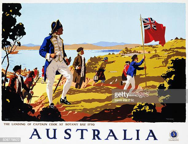 Poster for Australia Showing the Landing of Captain Cook at Botany Bay in 1770 by Trompf