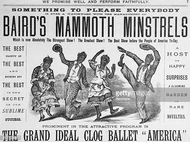 Poster for Baird's Mammoth Minstrels showing two Negro couples dancing Woodcut ca 1880 Original Caption