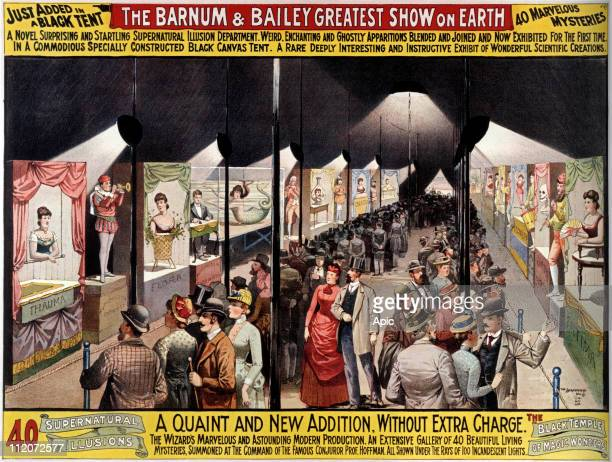 Poster for Barnum & Bailey circus 1889 : supernatural illusions under the black tent.