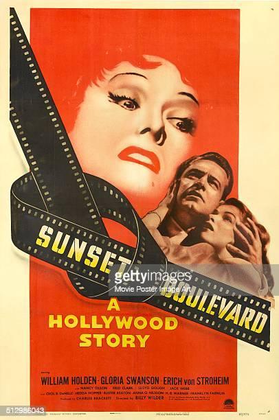Poster for Billy Wilder's 1950 drama 'Sunset Boulevard' starring William Holden, Gloria Swanson, and Nancy Olson.