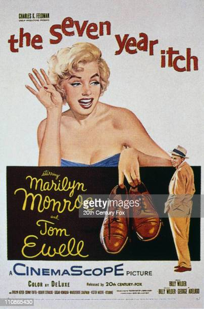 Poster for Billy Wilder's comedy 'The Seven Year Itch', featuring American actors Marilyn Monroe and Tom Ewell , 1955.