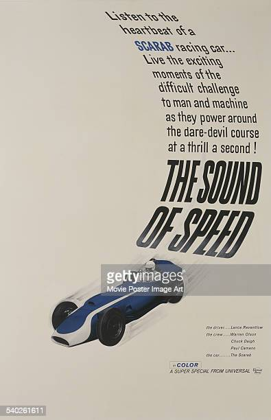A poster for Bruce Kessler's 1962 short motor racing documentary 'The Sound Of Speed' featuring racing driver Lance Reventlow
