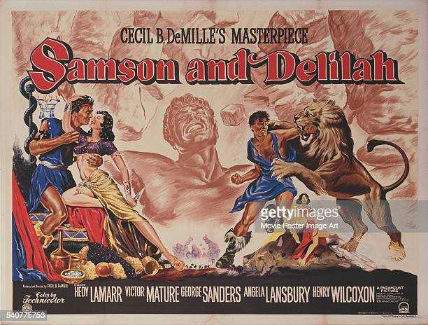 A poster for Cecil B DeMille's 1949 adventure film 'Samson and Delilah' starring Hedy Lamarr and Victor Mature