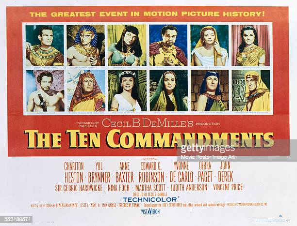 A poster for Cecil B DeMille's 1956 adventure film 'The Ten Commandments' starring Charlton Heston Yul Brynner Anne Baxter Edward G Robinson Yvonne...