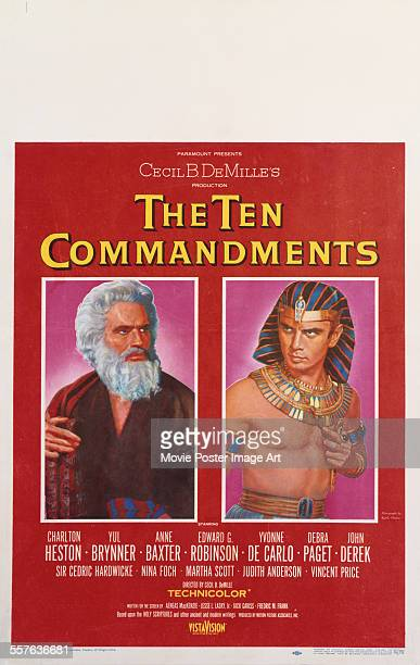 A poster for Cecil B DeMille's 1956 adventure film 'The Ten Commandments' starring Charlton Heston and Yul Brynner