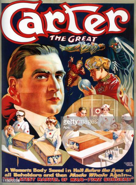 Poster for Charles Joseph Carter american stage magician with assistants dressed up as nurses for act of sawing a woman in half 1922