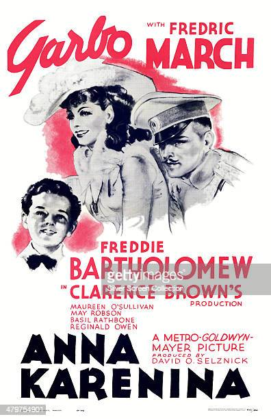 A poster for Clarence Brown's 1935 film 'Anna Karenina' starring Greta Garbo Fredric March and Freddie Bartholomew