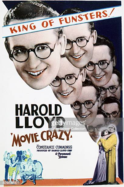 A poster for Clyde Bruckman's 1932 comedy 'Movie Crazy' starring Harold Lloyd