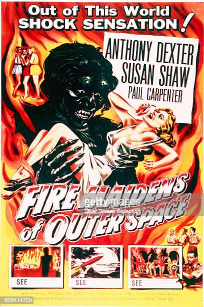 A poster for Cy Roth's 1956 science fiction film 'Fire Maidens Of Outer Space' starring Anthony Dexter and Susan Shaw