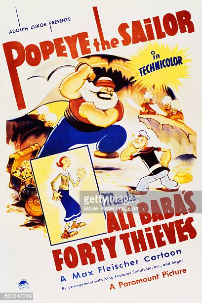 A poster for Dave Fleischer's 1937 short animation comedy 'Popeye the Sailor Meets Ali Baba's Forty Thieves'
